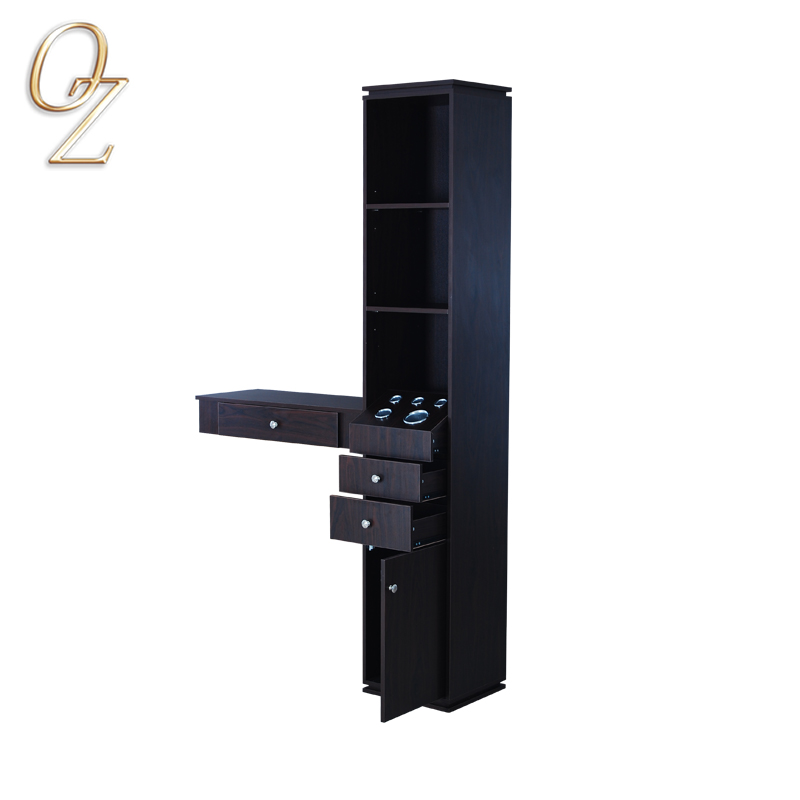 Salon Wall Mirror Station Styling Cabinet For Beauty Salon Durable Makeup Station