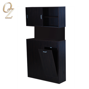 Barber Shop Black Melamine Salon Workstation With Cupboard Wholesale