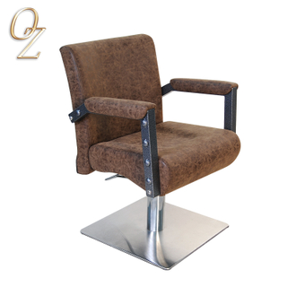 French Style Brown Hair Stylist Chair With Square Base Hair Salon Chairs For Sale