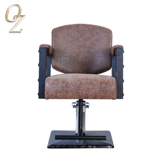 Antique PVC Leather Hair Styling Chair With Footrest US Standard Barber Salon Chairs Beauty Shop Furniture Manufacturer