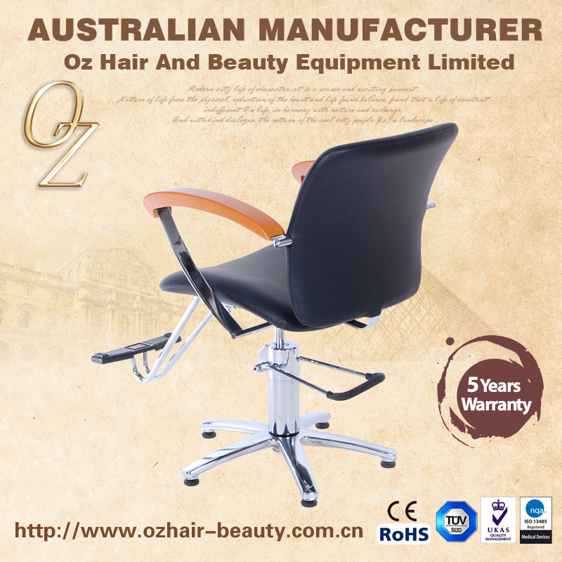 Wood handle Salon Chair Barber Shop Styling Chair Hair Salon Chairs With Chrome Base