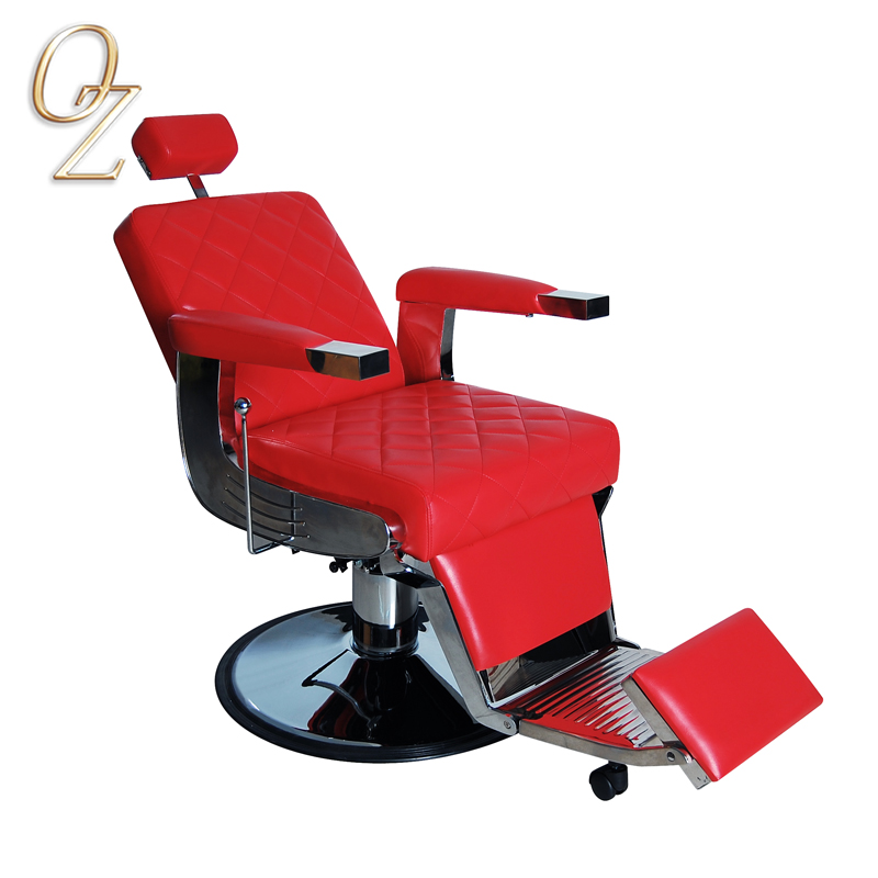 Red Barber Shop Chair Fire Retardant Leather Hair Dressing Chairs With Footrest Wholesale Barbershop Equipment