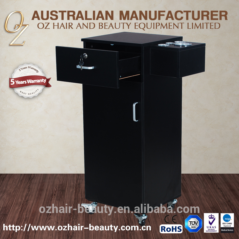 China Supplier Hairdressing Trolley Mobile Cabinet Station Wood Pedicure Trolley Cart