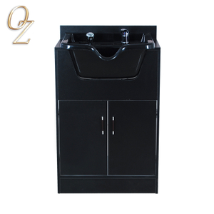 Plastic Bowl HairWash Station Shampoo Basin Cabinet Black Melamine Board Quality Workstation