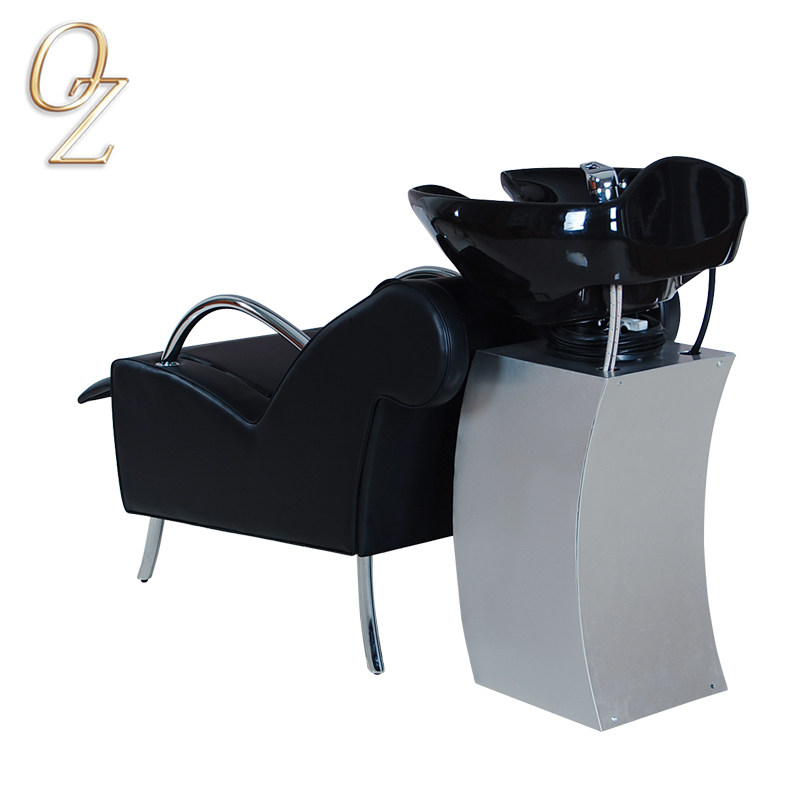 High Quality Salon Furniture Modern Australian Standard Black Adjustable Real Leather Backwash Unit Hair Washing Chair Factory