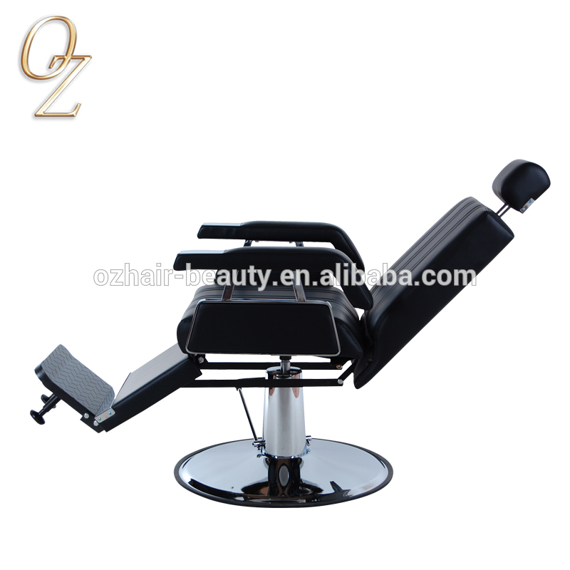 Australian Standard Real Leather Classic Barber Chairs Black Hydraulic and Reclining Beauty Equipment Hair Styling Chair Factory