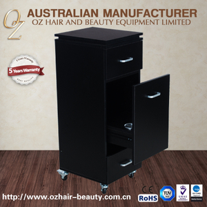 Black Hairdressing Trolley Cabinet With Drawer Salon Furniture Rolling Cart