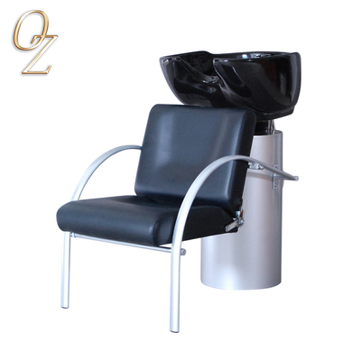 Salon Shampoo Chair Hair Salon Backwash Chair With Ceramic Sinks One Body Shampoo Unit