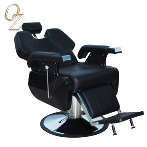 UK Standard Black Reclining PVC Barber Chairs Cheap Salon Chair Lockable Hydraulic Men Barber Chair